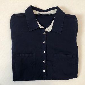 Zara basic collar top size small